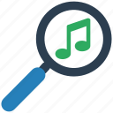 find, glass, multimedia, music, play, search, zoom icon