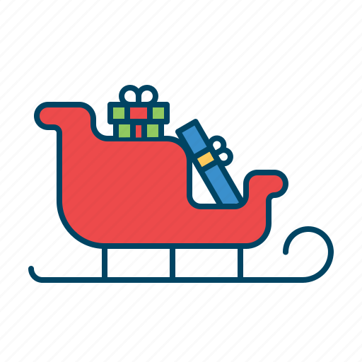 christmas, santa, sled, sledge, vehicle icon