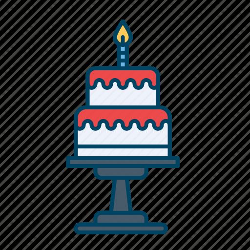 birthday, cake, candle, desert, party, pie icon