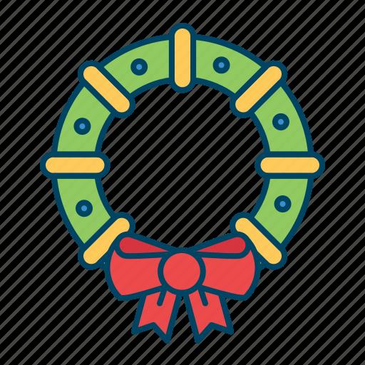 christmas, decoration, wreath, xmas icon