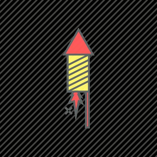 eve, fire, fireworks, illuminations, lit, new year, rocket icon