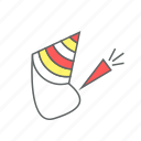 celebration, eve, event, funny, hat, new year, party icon