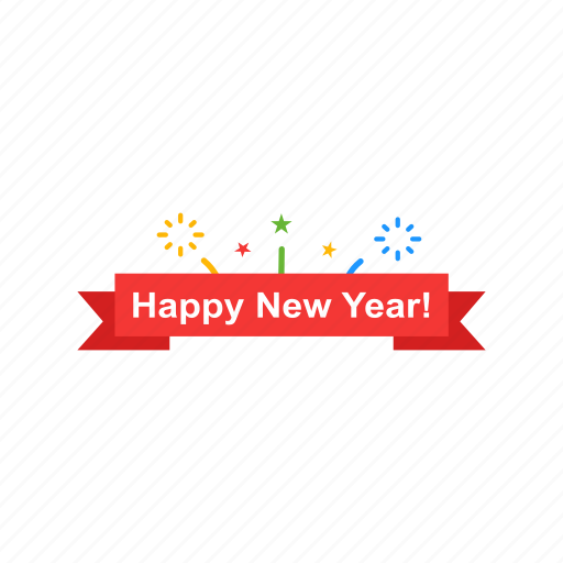 banner happy new year new year party icon