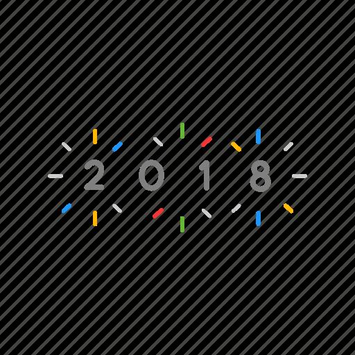 new year, party, twenty eighteen, year icon