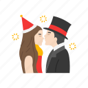 couple, kissing, kissing couple, lovers, new years eve icon