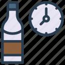 beer, bottle, clock, drink, wine