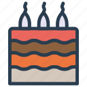 birthday, cake, candle, dessert, sweet icon