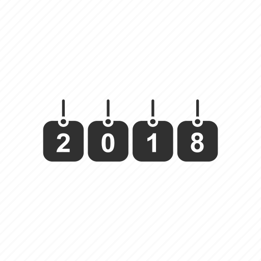 greetings, happy new year, party, twenty eighteen icon