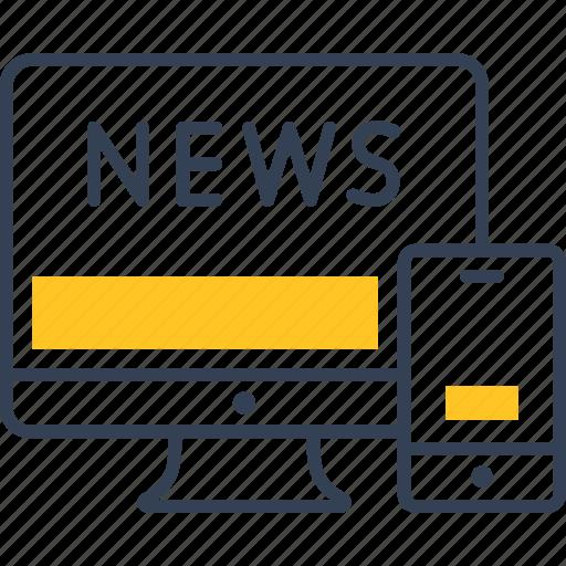 computer, news, telephone icon