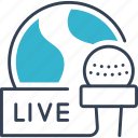 live, microphone, news, worlf icon