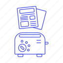 2, editorial, morning, news, newspaper, newsprint, paper, press, subscription, toaster icon