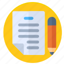 file, news, note, paper, pencile, writer icon