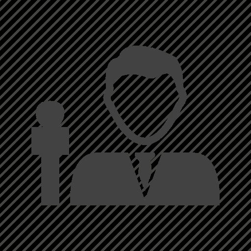 anchor, live, male, news, presenter, studio, tv icon