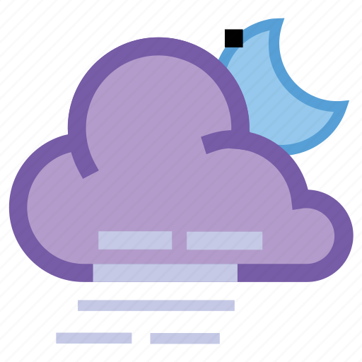 alt, cloudy, forecast, moon, night, weather, windy icon