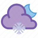 alt, forecast, frosty, moon, night, snow, snowflake icon