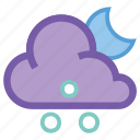 alt, cloud, forecast, hail, moon, night, weather icon