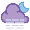 alt, cloud, forecast, haze, moon, night, weather icon
