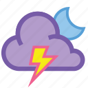 alt, cloud, forecast, lightning, night, storm, weather icon