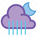 alt, cloudy, forecast, moon, night, rain, weather icon