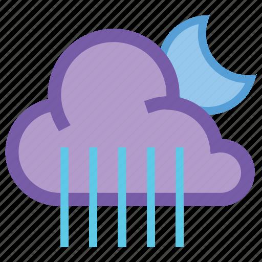 alt, cloudy, forecast, moon, night, rain, weather icon