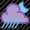 alt, cloud, forecast, night, rain, weather, wind icon