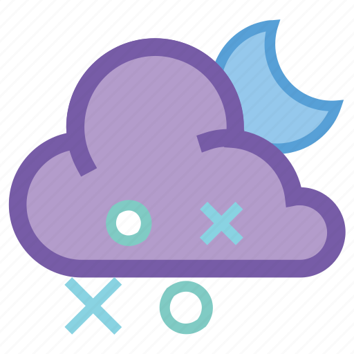 alt, cloudy, forecast, moon, night, sleet, weather icon