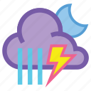 alt, forecast, moon, night, showers, storm, weather icon