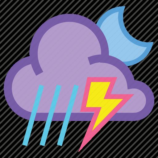 alt, lightning, moon, night, thunderstorm, weather icon