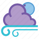 cloudy, forecast, gusts, moon, night, storm, weather icon