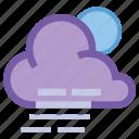 cloudy, fog, forecast, haze, moon, night, windy icon