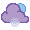 forecast, frosty, moon, night, snow, snowflake, weather icon