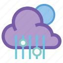 cloud, forecast, mix, moon, night, rain, weather icon