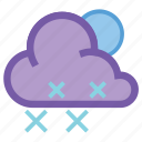 forecast, night, snow, snowflake, weather, wind, winter icon