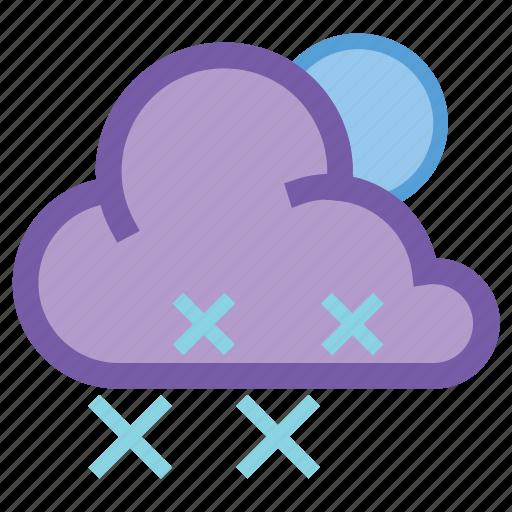 forecast, night, snow, snowflake, weather, wind, winter icon