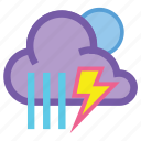 forecast, lightning, night, rain, showers, storm, thunder icon