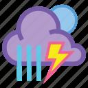 night, showers, storm, forecast, lightning, rain, thunder