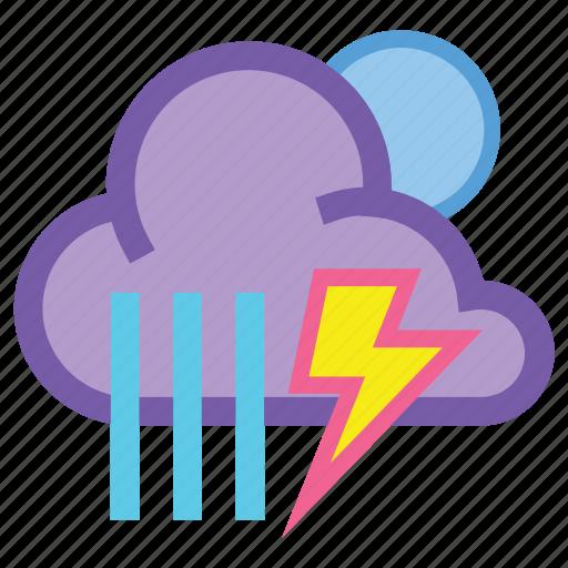 forecast, lightning, night, rain, showers, storm, thunder icon