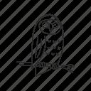 nature, sketch, bird, outline, owl, forest