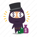 greed, material, money, ninja icon