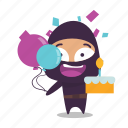birthday, cake, celebrate, ninja icon