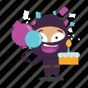 birthday, cake, celebrate, ninja icon