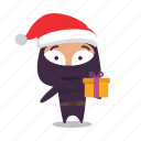 christmas, gift, kind, ninja, santa icon