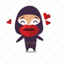 hearts, kiss, kisses, love, ninja icon