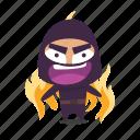 angry, fire, furious, ninja icon