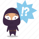 confused, ninja, question mark icon