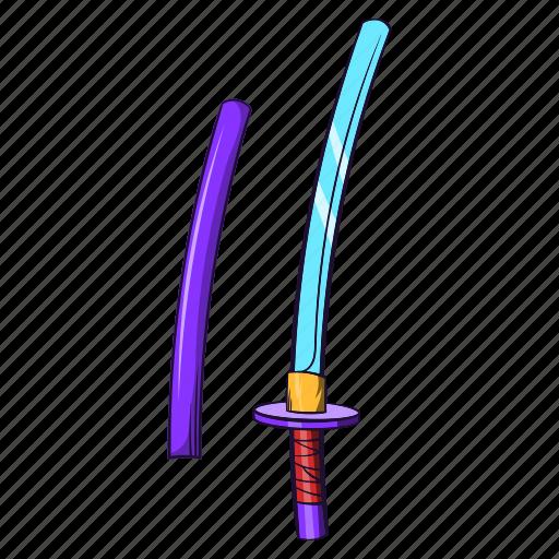 blade, cartoon, katana, samurai, steel, sword, weapon icon