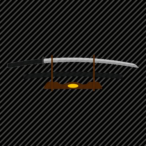 blade, japanese, katana, ninja, stand, weapon, wooden icon