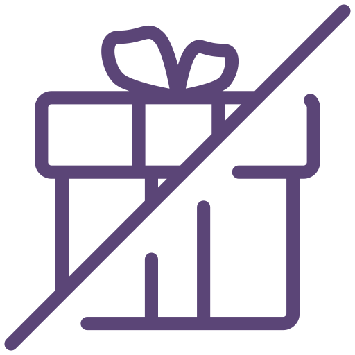 gift, no, not allowed, offer, present, sign, surprise icon