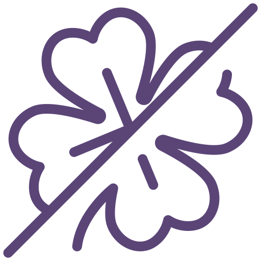 clover, luck, no, not allowed, sign icon