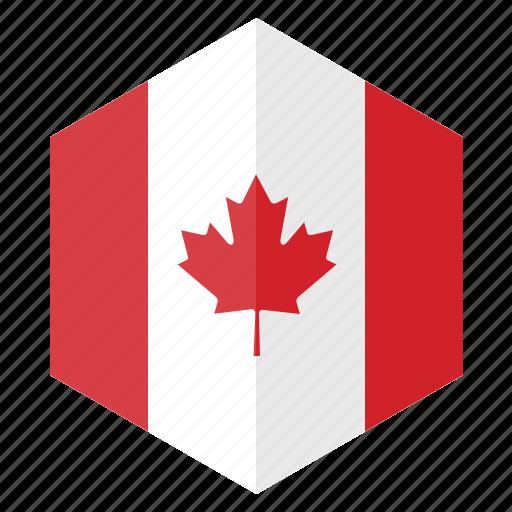 america, canada, country, design, flag, hexagon icon